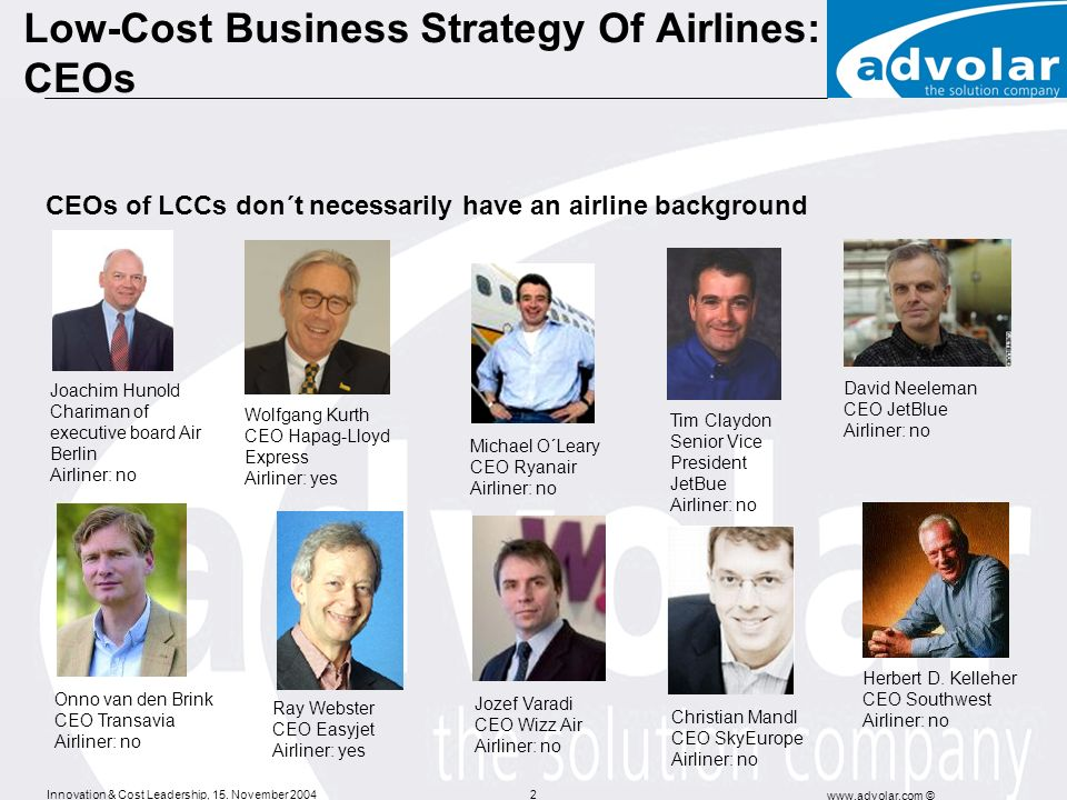 Innovation & Cost Leadership, 15. November 2004 www.advolar.com © 2 Low-Cost Business Strategy Of Airlines: CEOs Joachim Hunold Chariman of executive