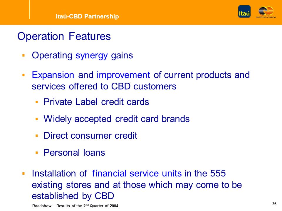 Roadshow – Results of the 2 nd Quarter of 2004 35 Estimated Expansion New Company Consumer Credit Contracts Own Credit Cards (Private Label) Credit Ca