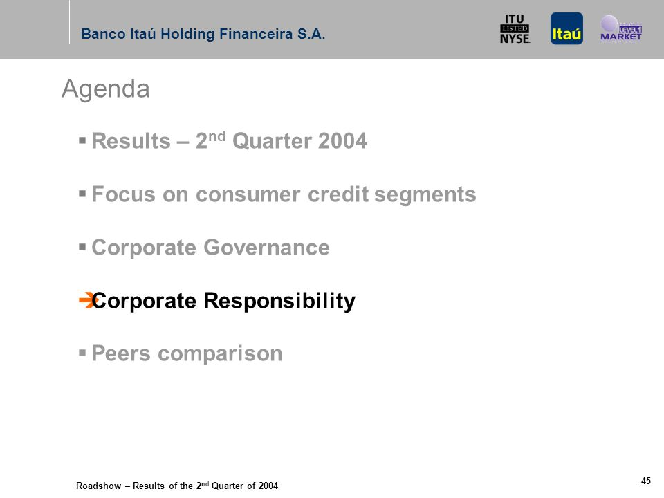 Roadshow – Results of the 2 nd Quarter of 2004 Banco Itaú Holding Financeira S.A. 44 Audit Committee installed in April 2004; All three members also s