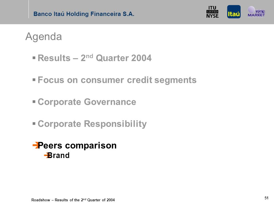 Roadshow – Results of the 2 nd Quarter of 2004 Banco Itaú Holding Financeira S.A. 50 Itaú BBA´s long-term environmental finance policy for large corpo