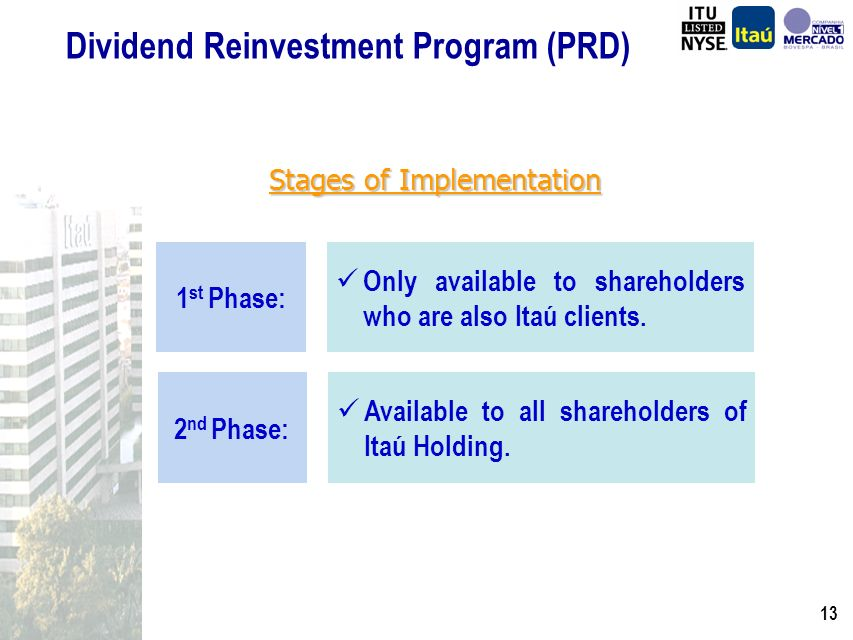 12 Ddividend Reinvestment Program (PRD) PRD: Ferramenta de Criação Efetiva de Valor para os Acionistas do Banco Itaú Holding Financeira Alternativa de