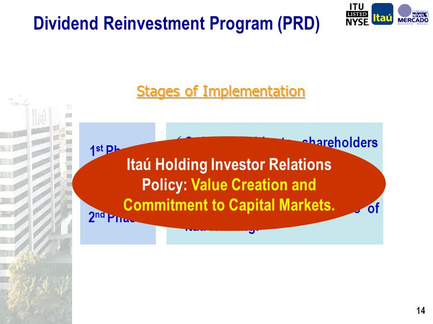 13 Dividend Reinvestment Program (PRD) Stages of Implementation Only available to shareholders who are also Itaú clients.
