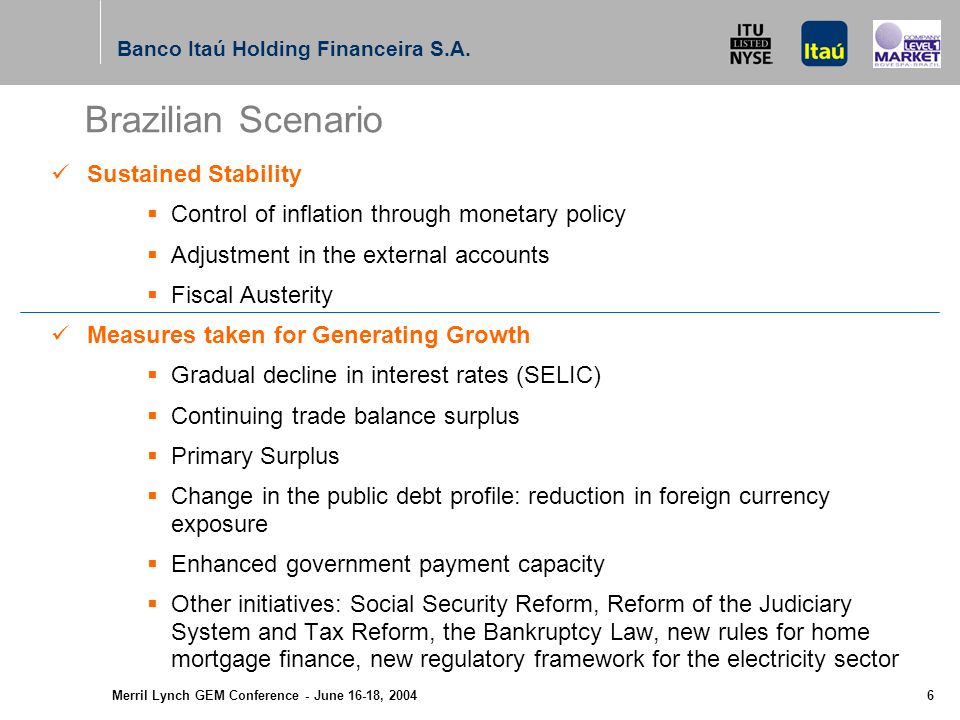 Merril Lynch GEM Conference - June 16-18, 2004 5 Agenda Results - Banco Itaú Holding Financeira Results - Banco Itaú Results - Banco Itaú BBA Important Facts - Banco Itaú Holding Financeira