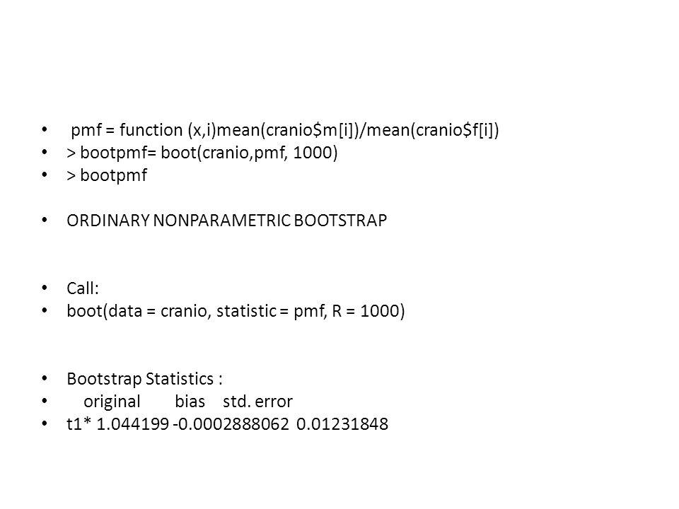 pmf = function (x,i)mean(cranio$m[i])/mean(cranio$f[i]) > bootpmf= boot(cranio,pmf, 1000) > bootpmf ORDINARY NONPARAMETRIC BOOTSTRAP Call: boot(data = cranio, statistic = pmf, R = 1000) Bootstrap Statistics : original bias std.