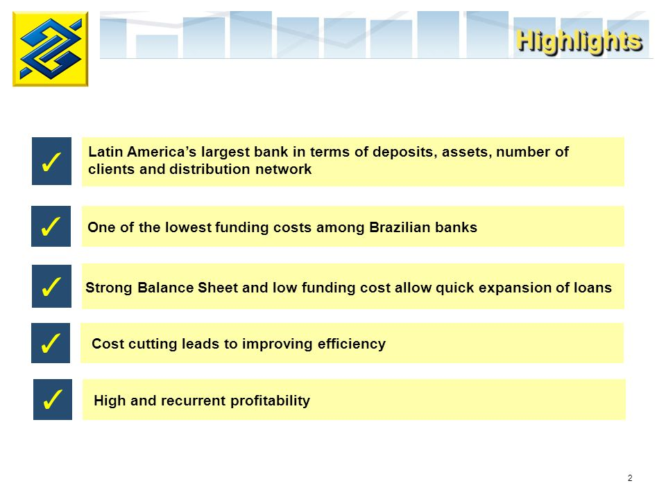 2 Strong Balance Sheet and low funding cost allow quick expansion of loans High and recurrent profitability Cost cutting leads to improving efficiency HighlightsHighlights Latin Americas largest bank in terms of deposits, assets, number of clients and distribution network One of the lowest funding costs among Brazilian banks