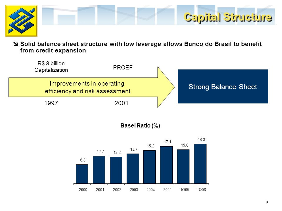 8 Basel Ratio (%) Improvements in operating efficiency and risk assessment R$ 8 billion Capitalization PROEF 1997 2001 Strong Balance Sheet Capital Structure Solid balance sheet structure with low leverage allows Banco do Brasil to benefit from credit expansion 8.8 12.7 12.2 13.7 15.2 17.1 15.6 18.3 2000200120022003200420051Q051Q06