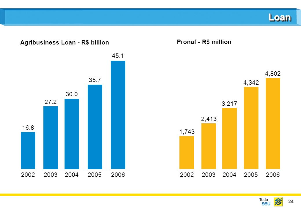 24 LoanLoan 16.8 27.2 30.0 35.7 45.1 20022003200420052006 Agribusiness Loan - R$ billion 1,743 2,413 3,217 4,342 4,802 20022003200420052006 Pronaf - R$ million
