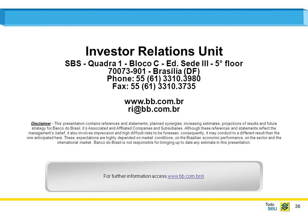 36 Investor Relations Unit SBS - Quadra 1 - Bloco C - Ed.