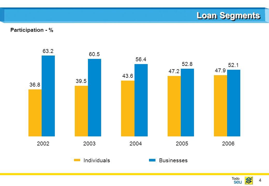 4 Loan Segments IndividualsBusinesses 36.8 39.5 43.6 47.2 47.9 63.2 60.5 56.4 52.8 52.1 20022003200420052006 Participation - %