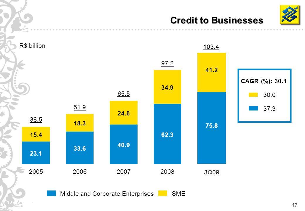17 75.8 41.2 SMEMiddle and Corporate Enterprises Credit to Businesses R$ billion CAGR (%): 30.1 30.0 37.3 62.3 34.9 2008 97.2 40.9 24.6 2007 65.5 33.6 18.3 2006 51.9 23.1 15.4 2005 38.5 3Q09 103.4