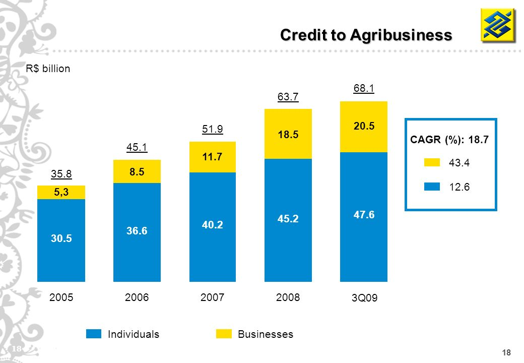 18 BusinessesIndividuals Credit to Agribusiness R$ billion CAGR (%): , Q09