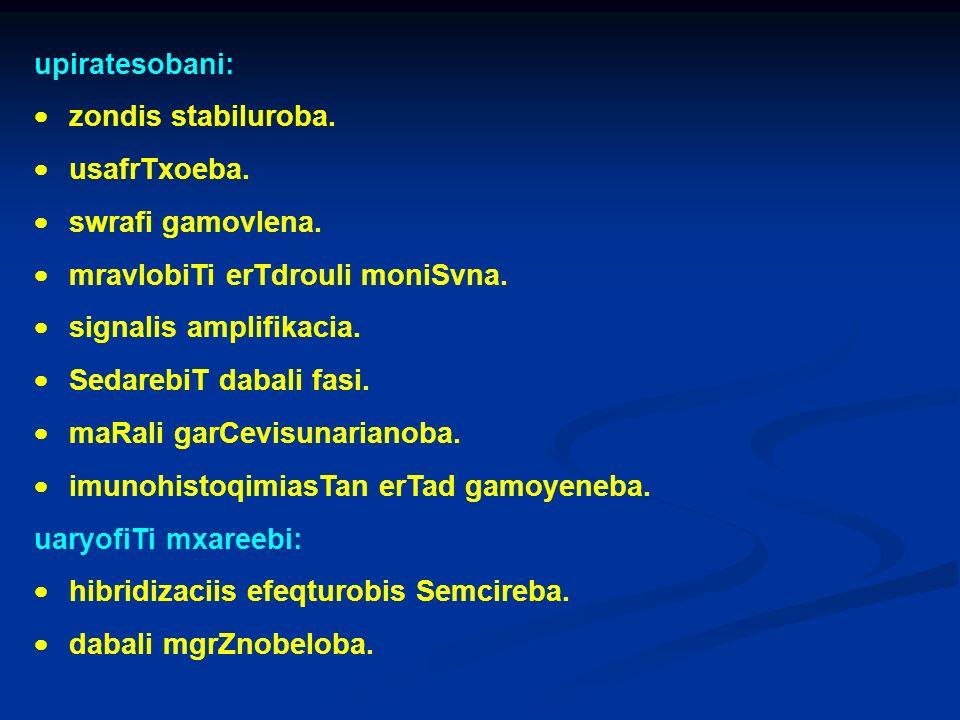 upiratesobani: zondis stabiluroba. usafrTxoeba. swrafi gamovlena. mravlobiTi erTdrouli moniSvna. signalis amplifikacia. SedarebiT dabali fasi. maRali