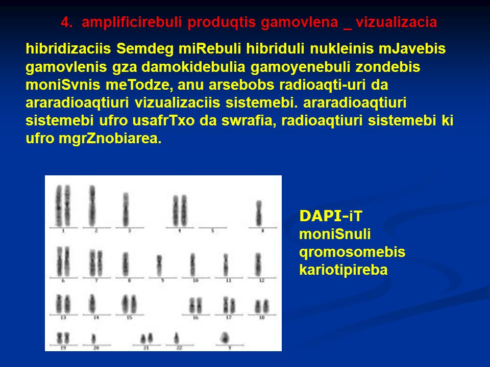 4. amplificirebuli produqtis gamovlena _ vizualizacia hibridizaciis Semdeg miRebuli hibriduli nukleinis mJavebis gamovlenis gza damokidebulia gamoyene
