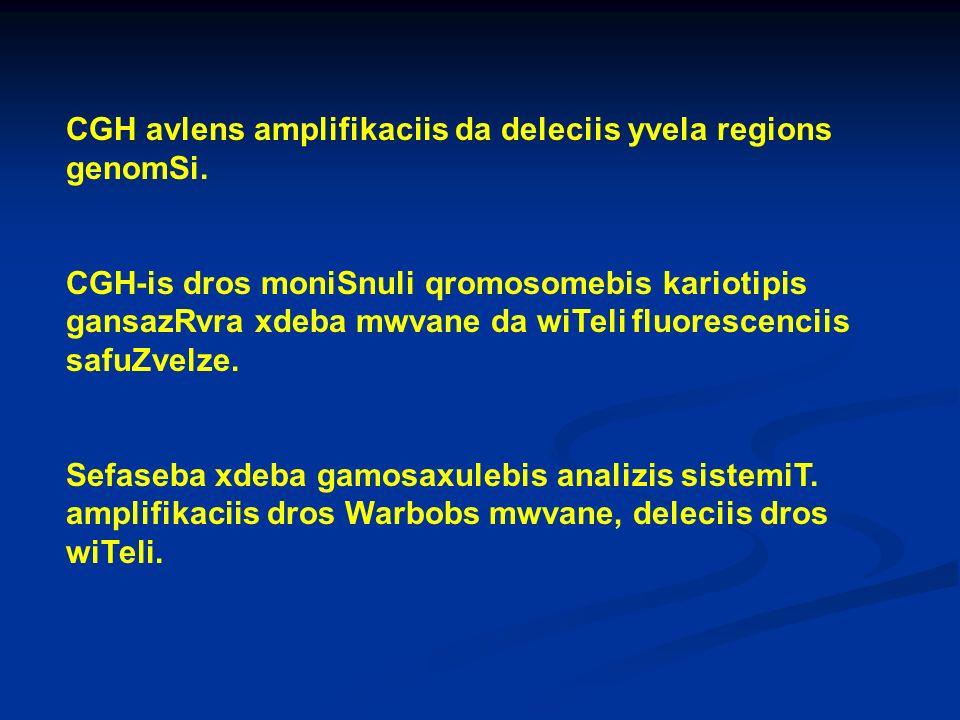 CGH avlens amplifikaciis da deleciis yvela regions genomSi. CGH-is dros moniSnuli qromosomebis kariotipis gansazRvra xdeba mwvane da wiTeli fluorescen