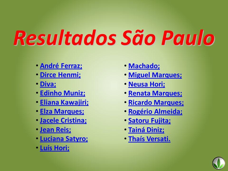 Resultados São Paulo André Ferraz; Dirce Henmi; Diva; Edinho Muniz; Eliana Kawajiri; Elza Marques; Jacele Cristina; Jean Reis; Luciana Satyro; Luís Ho