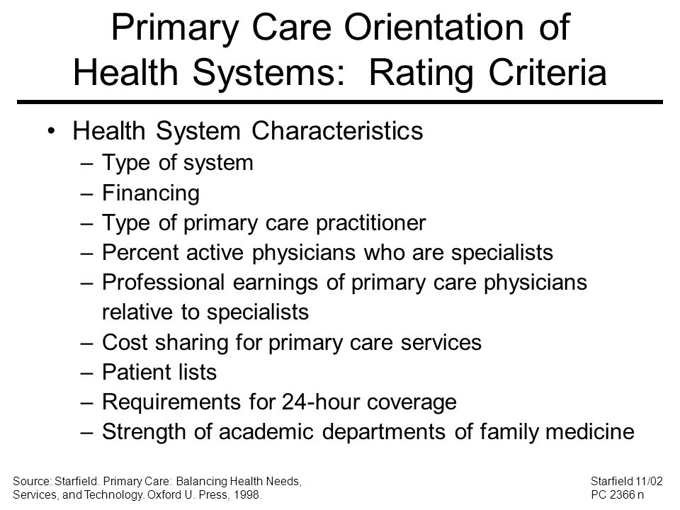 Primary Care Orientation of Health Systems: Rating Criteria Health System Characteristics –Type of system –Financing –Type of primary care practitione