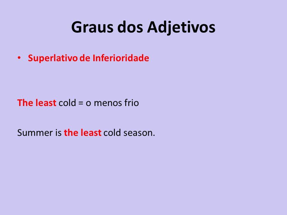 Superlativo de Inferioridade The least cold = o menos frio Summer is the least cold season.