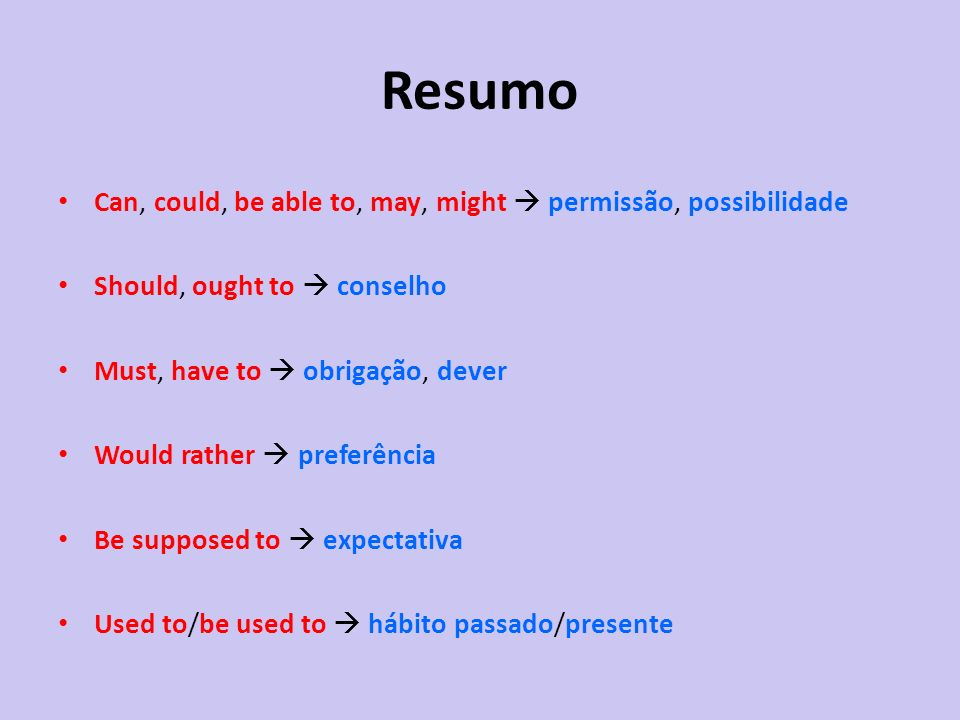 Resumo Can, could, be able to, may, might permissão, possibilidade Should, ought to conselho Must, have to obrigação, dever Would rather preferência B