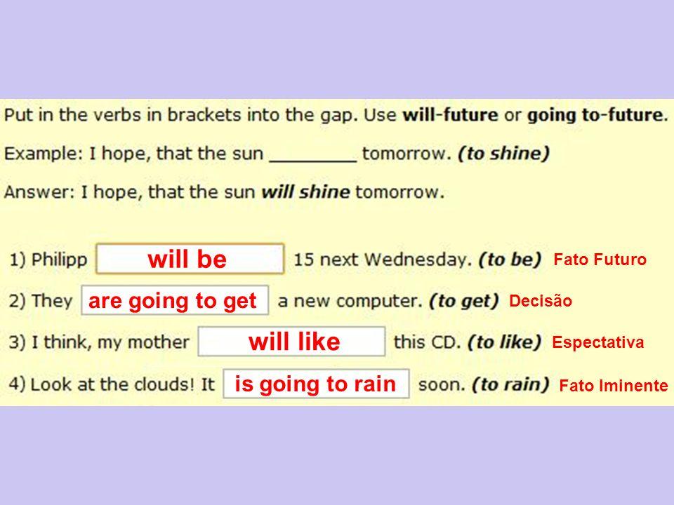 will be are going to get will like is going to rain Fato Futuro Decisão Espectativa Fato Iminente