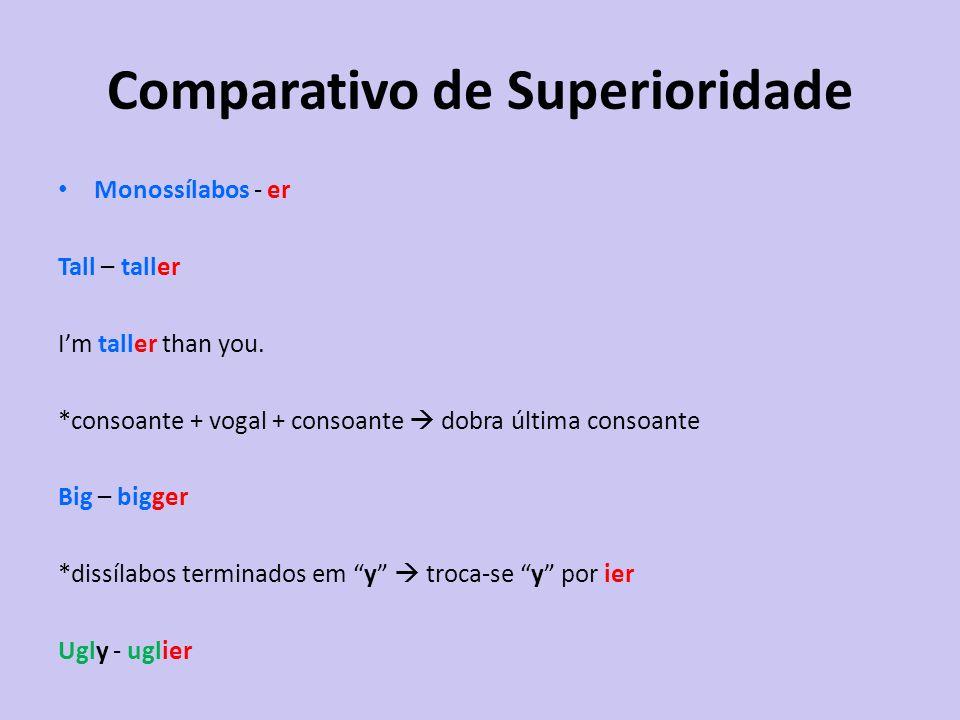 Monossílabos - er Tall – taller Im taller than you. *consoante + vogal + consoante dobra última consoante Big – bigger *dissílabos terminados em y tro