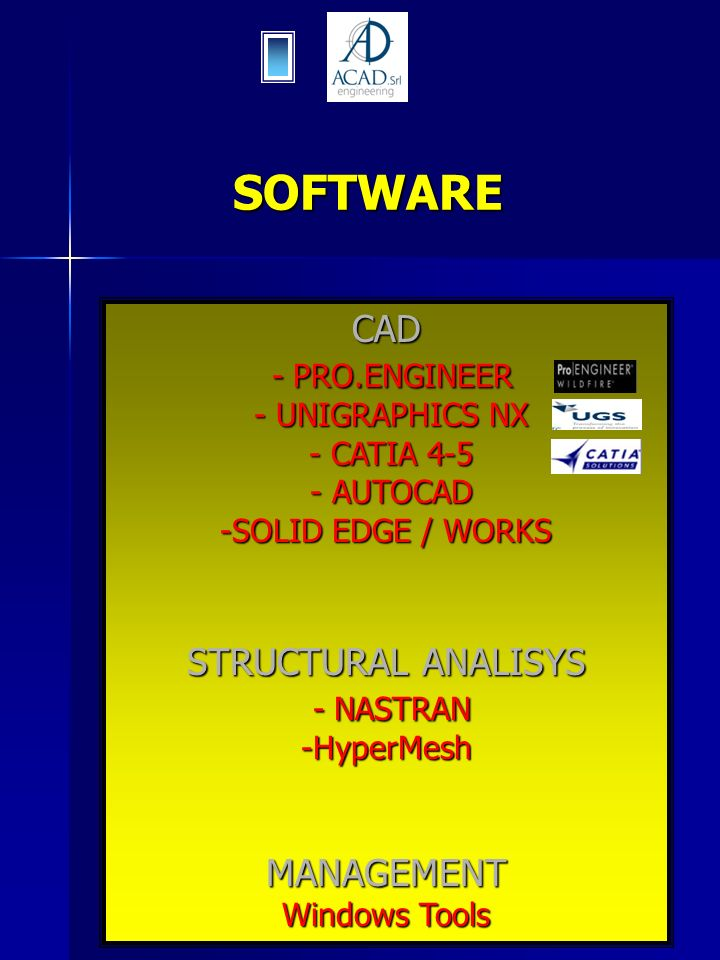 SOFTWARE CAD - PRO.ENGINEER - PRO.ENGINEER - UNIGRAPHICS NX - UNIGRAPHICS NX - CATIA 4-5 - CATIA 4-5 - AUTOCAD - AUTOCAD -SOLID EDGE / WORKS STRUCTURA