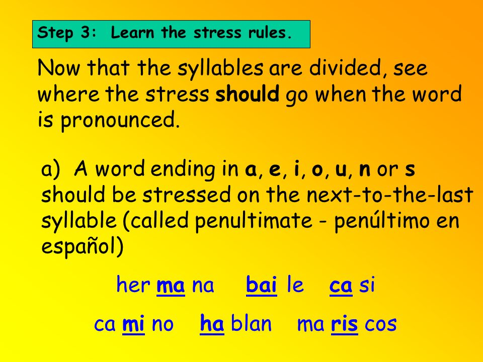 Step 3: Learn the stress rules. Now that the syllables are divided, see where the stress should go when the word is pronounced. a) A word ending in a,