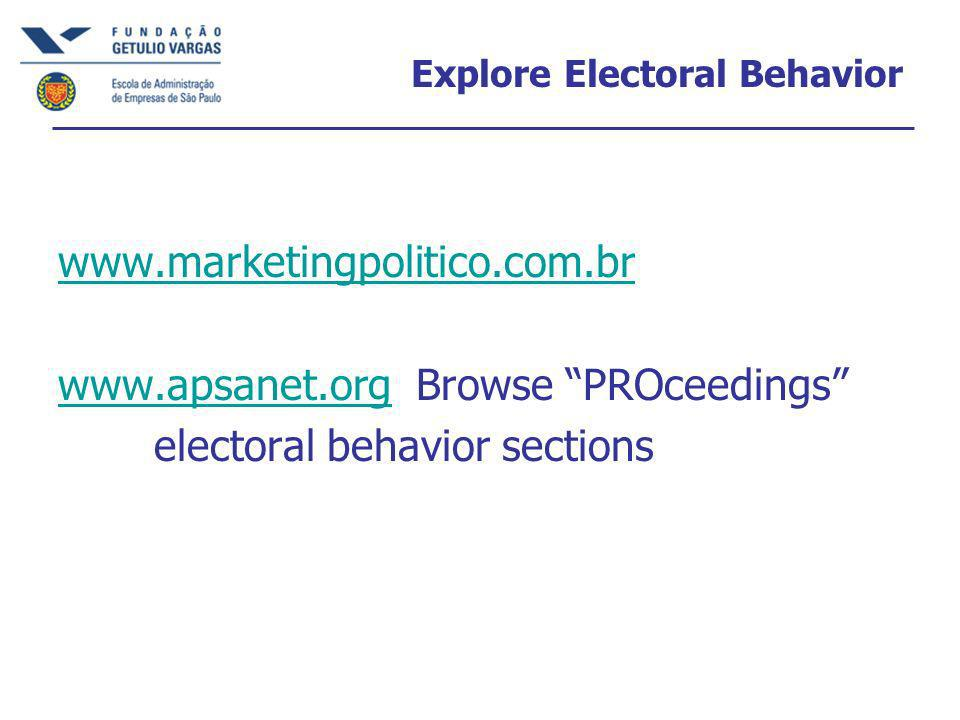 Explore Electoral Behavior     Browse PROceedings electoral behavior sections