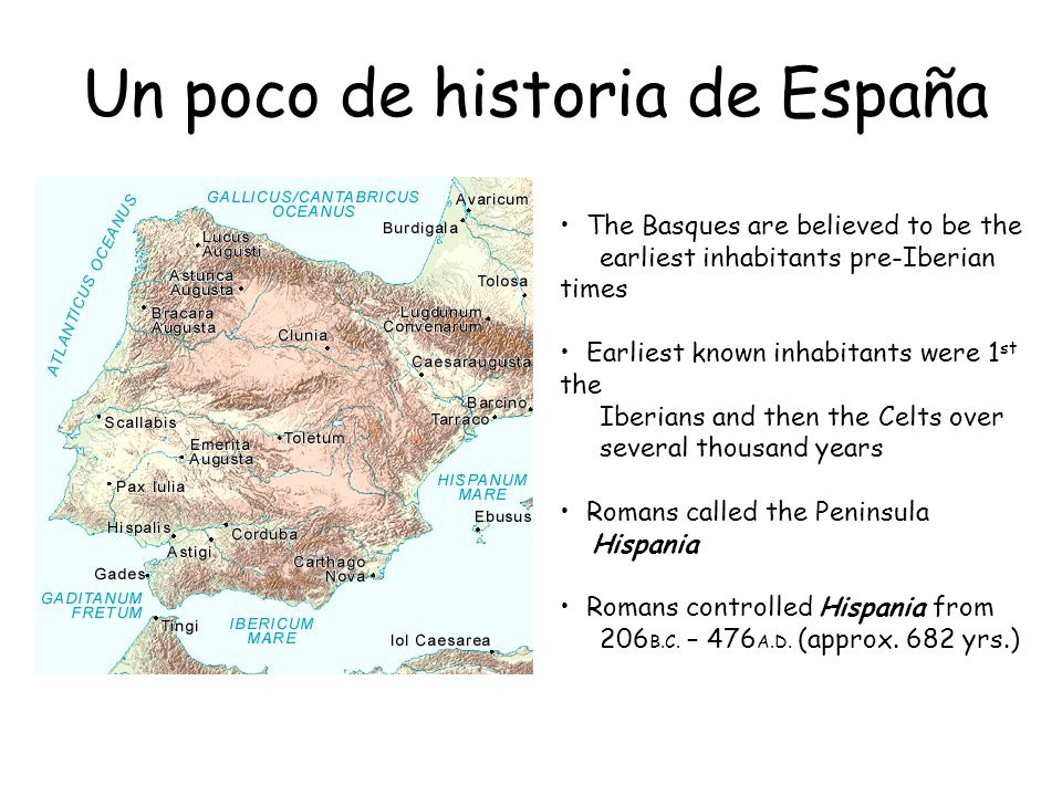 Un poco de historia de España The Basques are believed to be the earliest inhabitants pre-Iberian times Earliest known inhabitants were 1 st the Iberi
