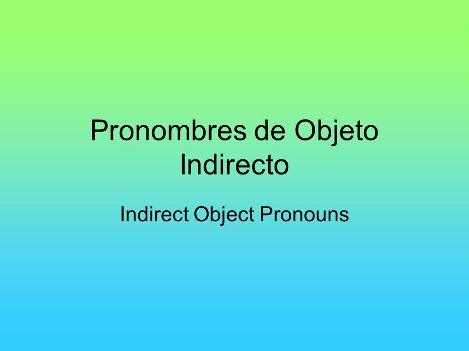 Pronombres de Objeto Indirecto Indirect Object Pronouns