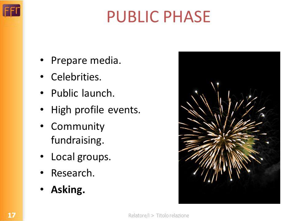 Relatore/i > Titolo relazione PUBLIC PHASE Prepare media. Celebrities. Public launch. High profile events. Community fundraising. Local groups. Resear