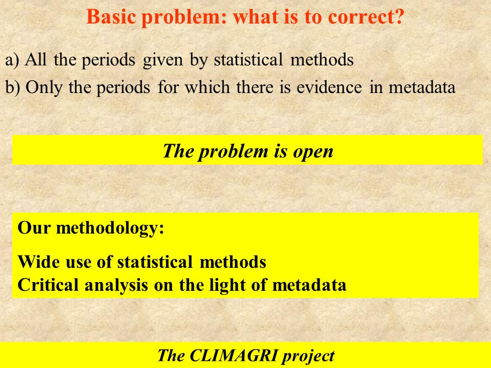 Basic problem: what is to correct? a) All the periods given by statistical methods b) Only the periods for which there is evidence in metadata The pro