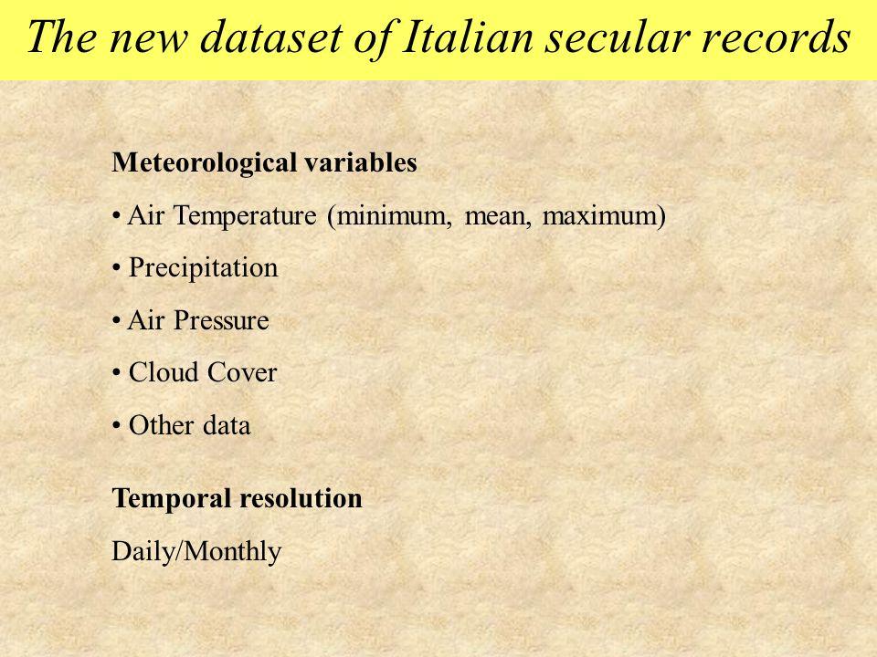 The new dataset of Italian secular records Meteorological variables Air Temperature (minimum, mean, maximum) Precipitation Air Pressure Cloud Cover Ot