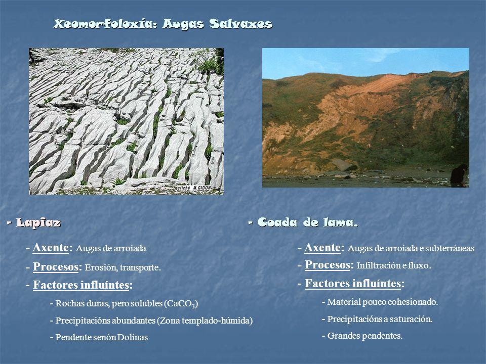 Xeomorfoloxía: Augas Salvaxes - Lapiaz - Coada de lama. - Axente: Augas de arroiada - Procesos: Erosión, transporte. - Factores influíntes: - Rochas d