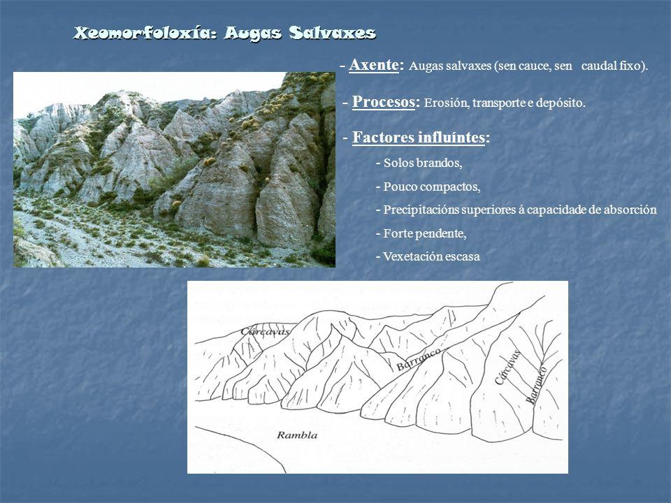 Xeomorfoloxía: Augas Salvaxes - Axente: Augas salvaxes (sen cauce, sen caudal fixo). - Procesos: Erosión, transporte e depósito. - Factores influíntes