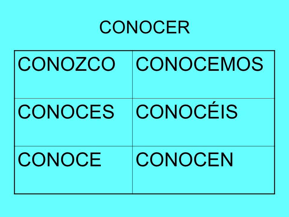 CONOCER CONOZCOCONOCEMOS CONOCESCONOCÉIS CONOCECONOCEN