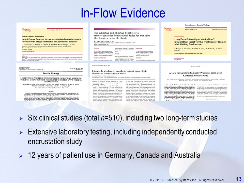 © 2011 SRS Medical Systems, Inc. All rights reserved. 13 In-Flow Evidence Six clinical studies (total n =510), including two long-term studies Extensi
