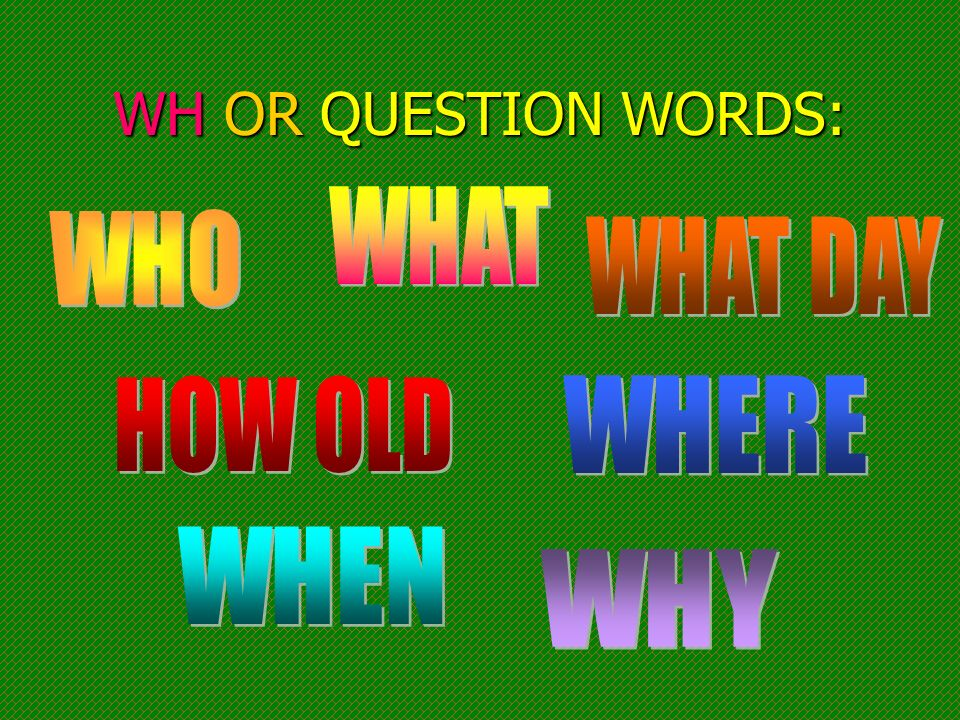 WH OR QUESTION WORDS: