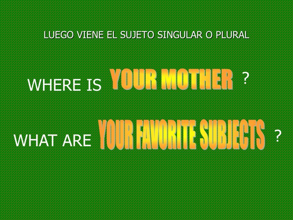LUEGO VIENE EL SUJETO SINGULAR O PLURAL WHERE IS ? WHAT ARE ?