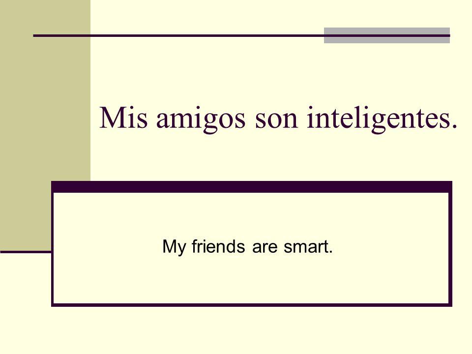 Mis amigos son inteligentes. My friends are smart.