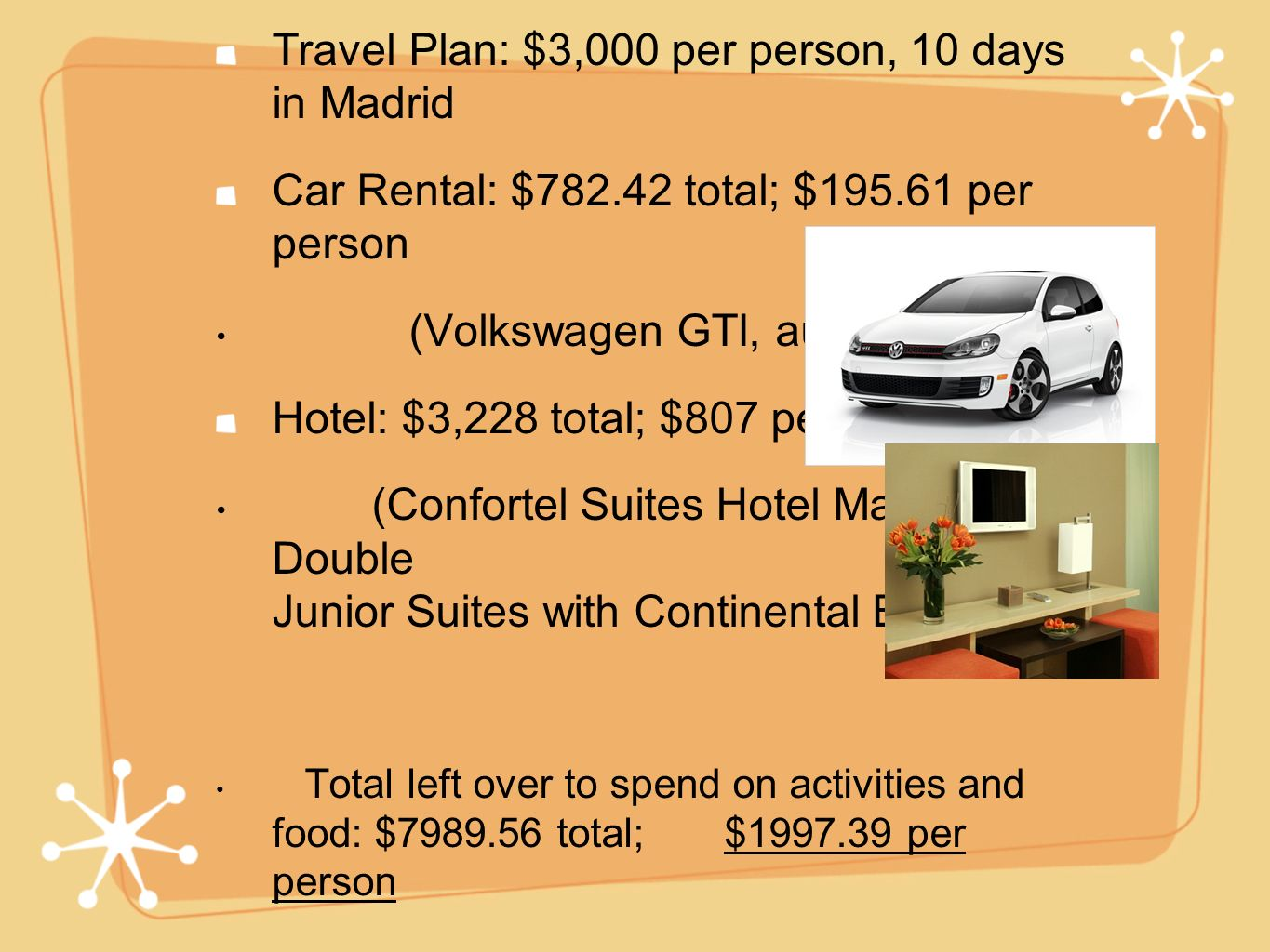 Travel Plan: $3,000 per person, 10 days in Madrid Car Rental: $782.42 total; $195.61 per person (Volkswagen GTI, automatic) Hotel: $3,228 total; $807 per person (Confortel Suites Hotel Madrid, two Double Junior Suites with Continental Breakfast) Total left over to spend on activities and food: $7989.56 total; $1997.39 per person