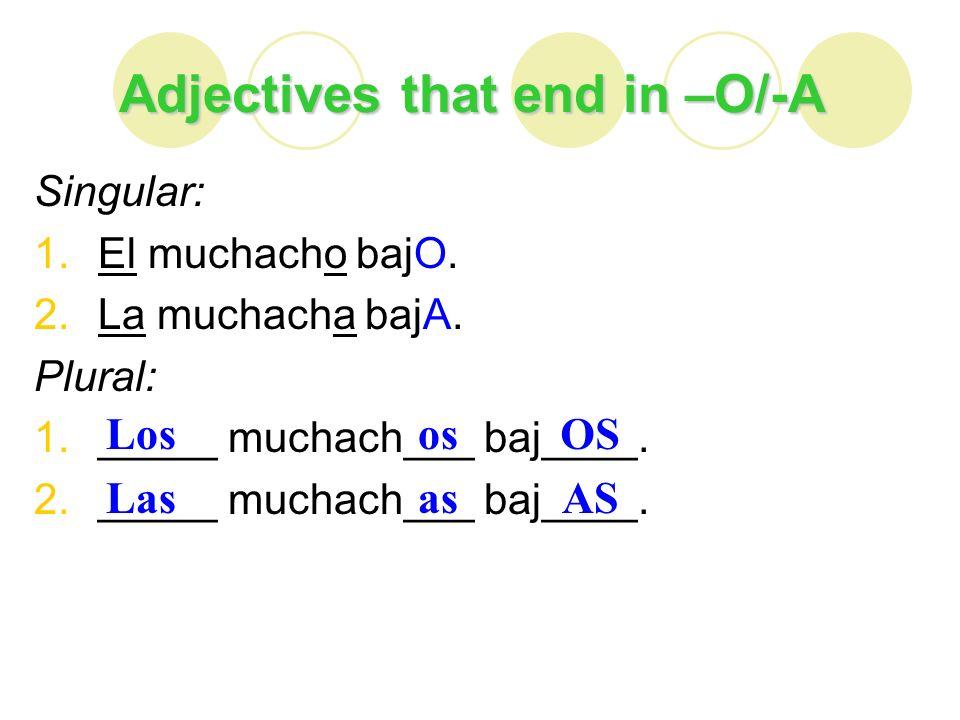 Adjectives that end in –E Singular: 1.El curso interesantE.