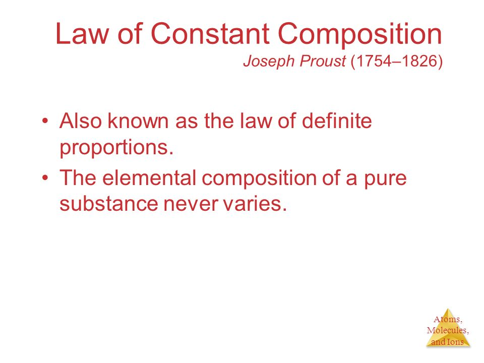 Atoms, Molecules, and Ions Law of Constant Composition Joseph Proust (1754–1826) Also known as the law of definite proportions. The elemental composit