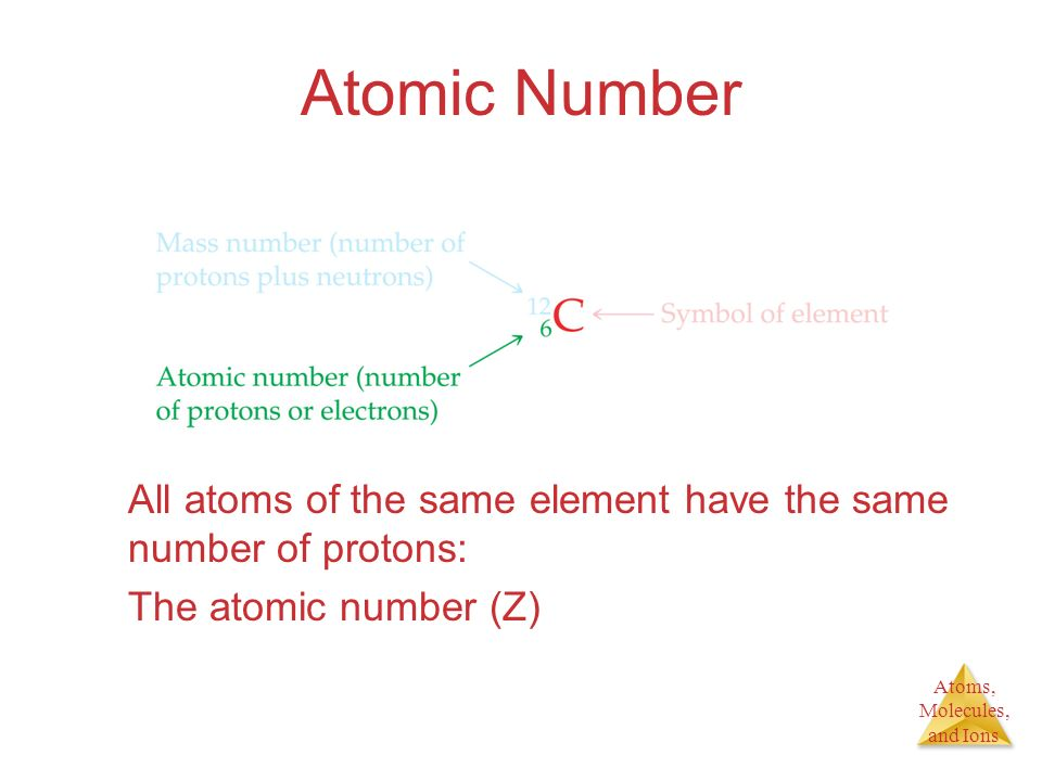 Atoms, Molecules, and Ions Atomic Number All atoms of the same element have the same number of protons: The atomic number (Z)