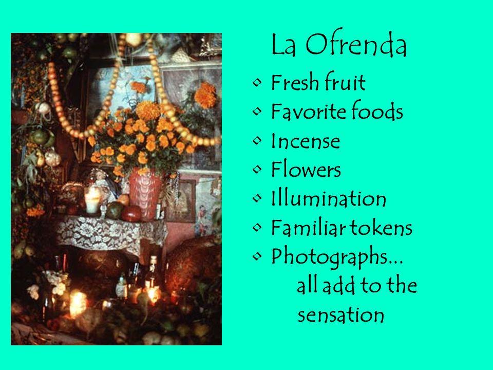 COMIDA FAVORITA (favorite food) VELAS (candles) COPAL (Incense) BEBIDAS (drinks) CALACAS (skeletons) OFRENDAS (offerings) FOTOS (photographs) PAPEL PI