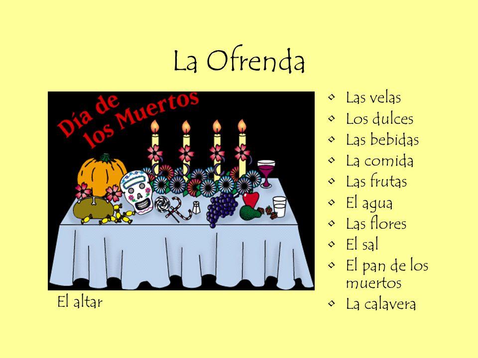 La Ofrenda Las velas Los dulces Las bebidas La comida Las frutas El agua Las flores El sal El pan de los muertos La calavera El altar