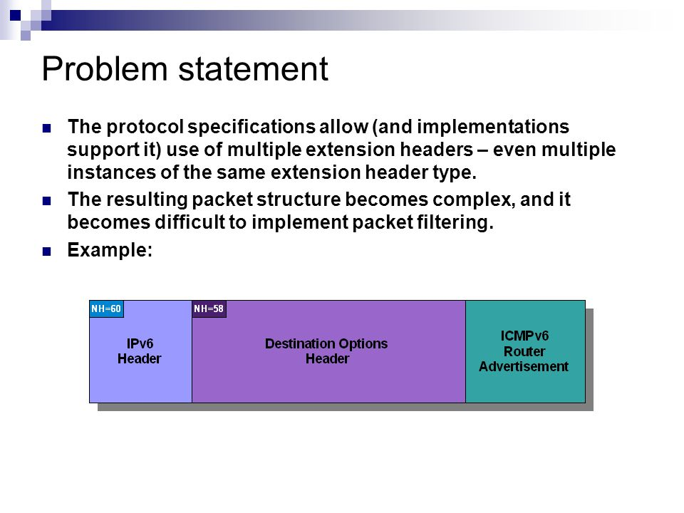 Problem statement The protocol specifications allow (and implementations support it) use of multiple extension headers – even multiple instances of th