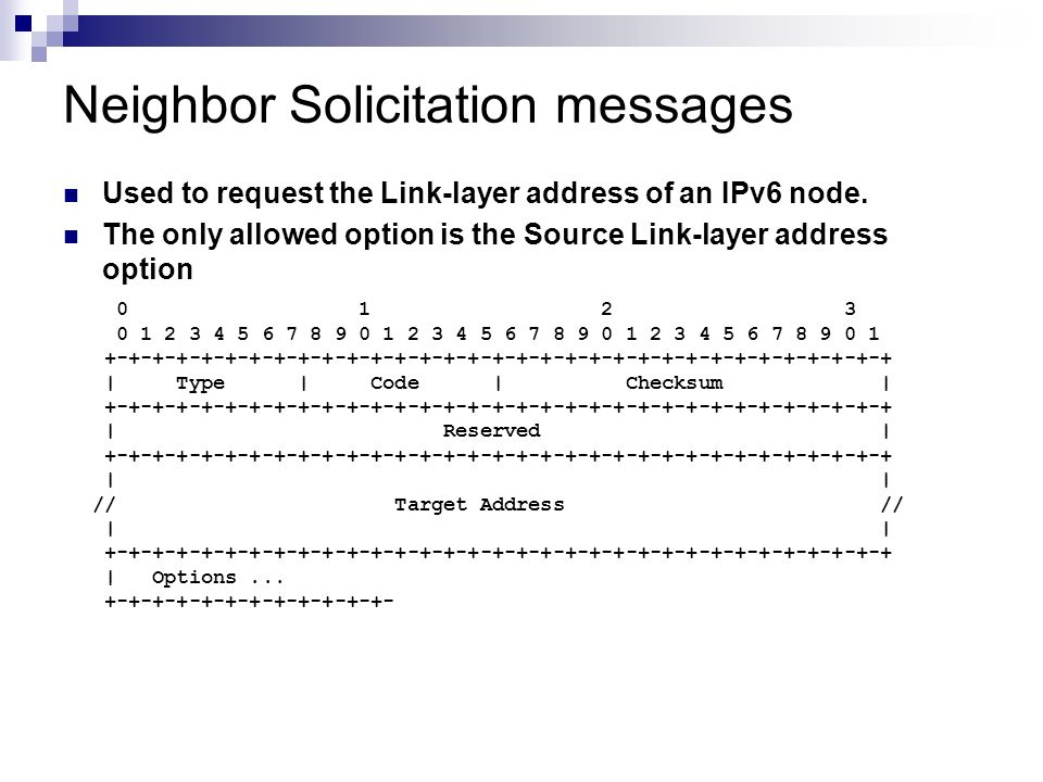 Neighbor Solicitation messages Used to request the Link-layer address of an IPv6 node. The only allowed option is the Source Link-layer address option