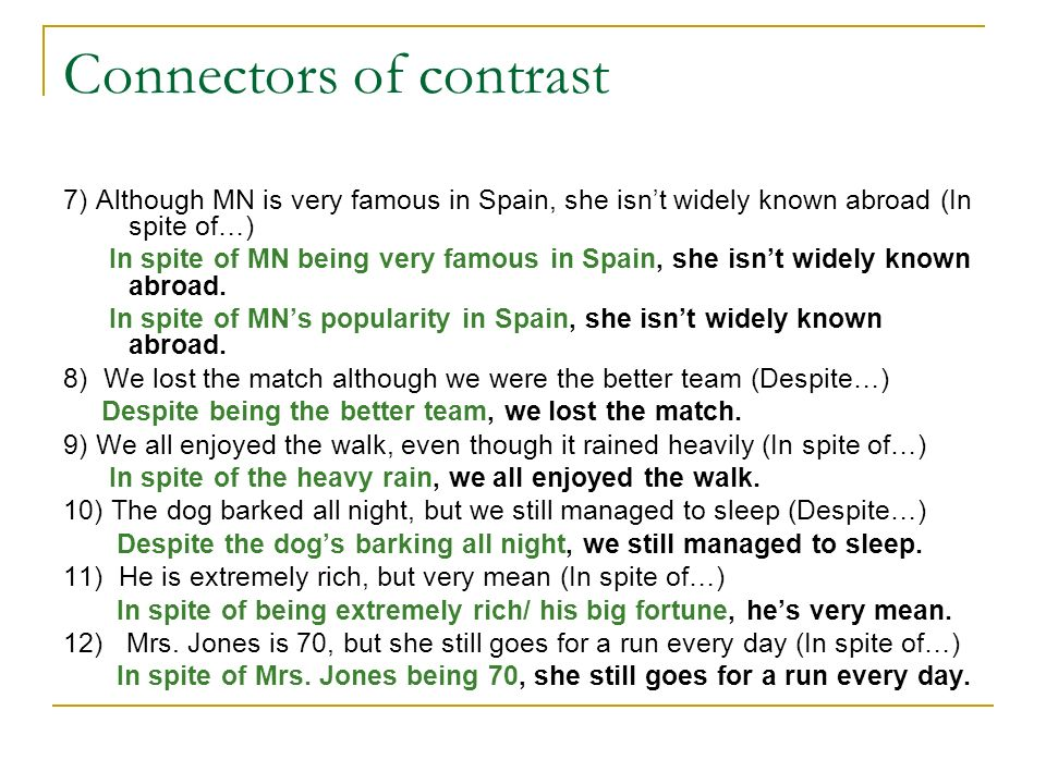 Connectors of contrast 7) Although MN is very famous in Spain, she isnt widely known abroad (In spite of…) In spite of MN being very famous in Spain,