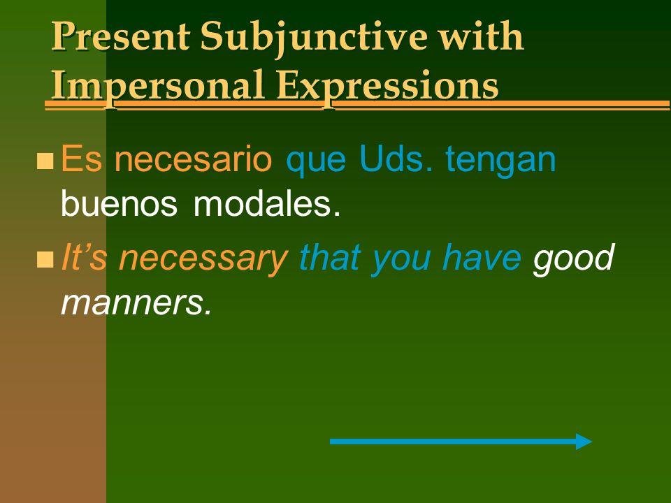 Present Subjunctive with Impersonal Expressions n Es importante n Es necesario n Es mejor n Es bueno