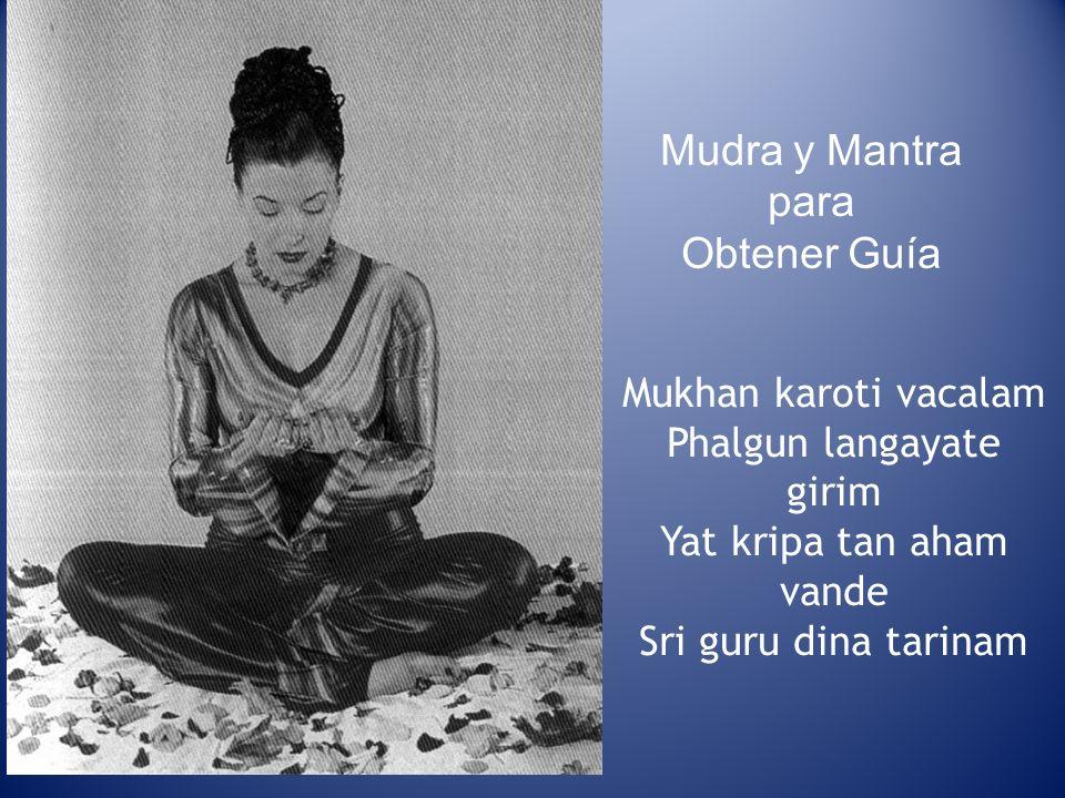 Mudra y Mantra para Obtener Guía Mukhan karoti vacalam Phalgun langayate girim Yat kripa tan aham vande Sri guru dina tarinam